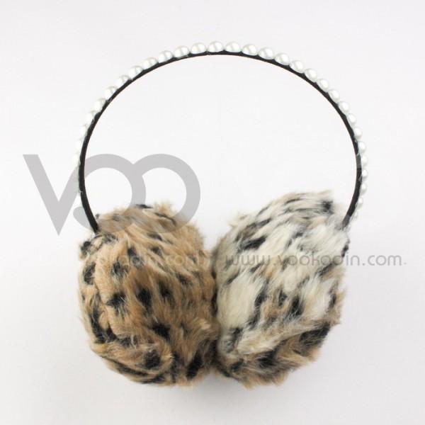 İnci Süslemeli Leopar Peluş Kulaklık