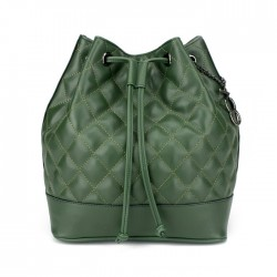 Yeşil Kapitone Büzgülü Bucket Omuz Askılı Çanta