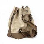 Vizon Kahverengi Büzgülü  Bucket Omuz Askılı Çanta