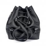 Siyah Pullu Payetli Büzgülü Bucket Çanta