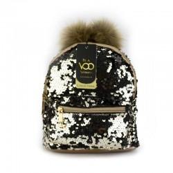 Altın Siyah Payetli Mini Sırt Çantası