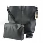 Siyah Sade Yavrulu Şık Geniş Askılı Çanta