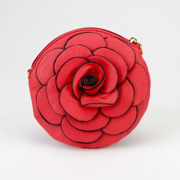 Kırmızı Çiçek Modeli Mini El Çantası