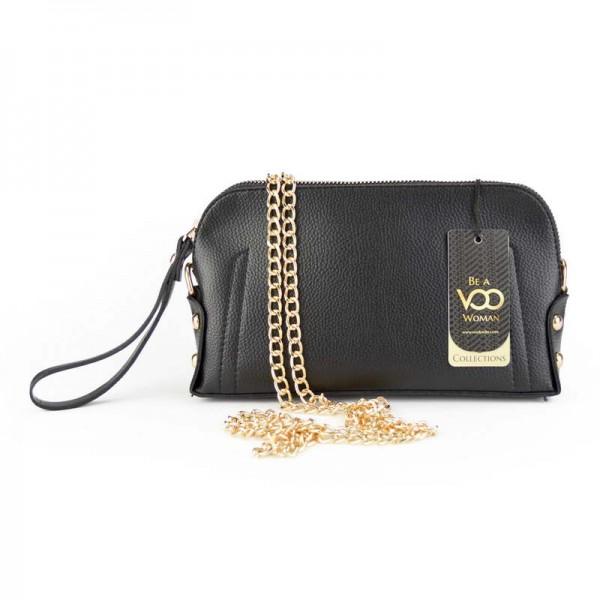 Siyah Suni Deri Basklı El çantası