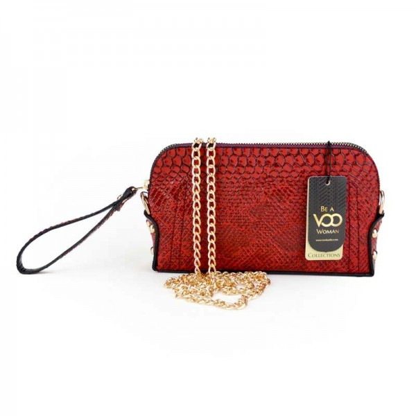 Kırmızı Yılan Deri Basklı El çantası