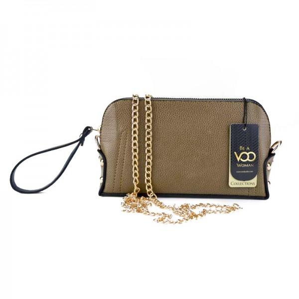 Vizon Suni Deri Basklı El çantası