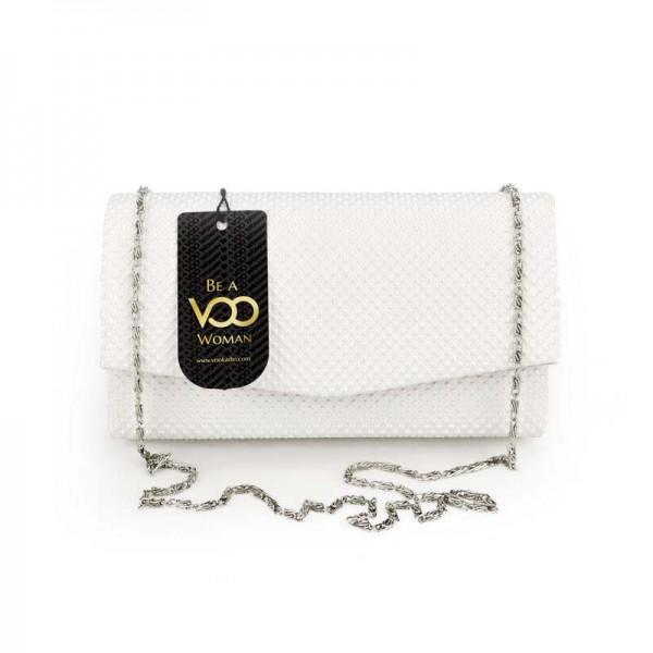 Beyaz Kabartmalı Mini El çantası